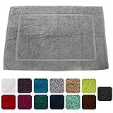 Lanudo Luxus Badematte 900g/m² Pure Line 60x90 mit Bordüre. 100% feinste Frottier Baumwolle in höchster Qualität, Bad-Teppich, Bad-Vorleger, Frottee. Farbe: Silber