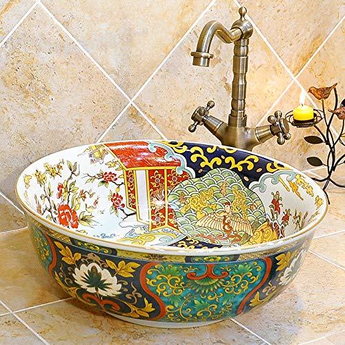 Waschbecken, Keramik Waschbecken, grüner Boden Schatz Blume Granatapfelbecken, Waschbecken, Bank montiert Schiff -