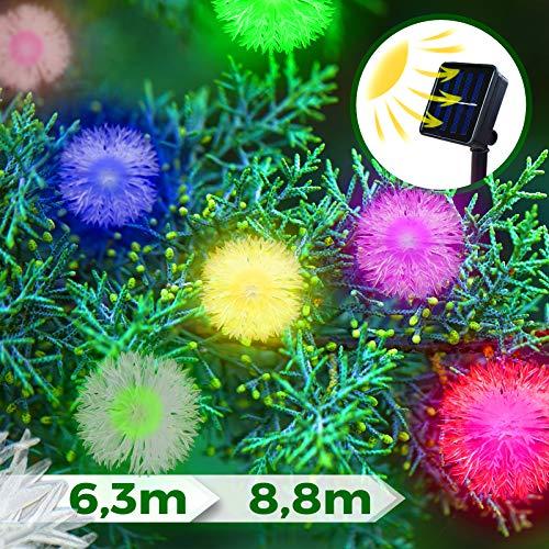 Solar Lichterkette Außen | mit Bunten Schneeflocken, 20 oder 30 LEDs | Gartenbeleuchtung, LED Solarlampen, Kristallbälle Beleuchtung