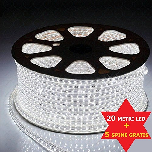 Striscia led 220v bianco 20 metri strip led esterno ed interno flessibile strip led smd 5050 bobina led da esterno luce led da interno striscia led + 5 spine 220v (gratis)
