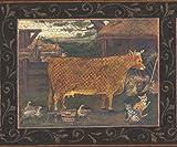 Chesapeake Mosaik-Bauernhof-Tiere-Bilder auf schwarze Wand Bauernhaus Wallpaper Border Retro-Design, Roll-15' x 6,5 ''
