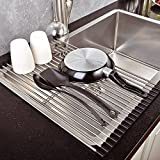 Top Home Solutions Over The Sink Kitchen Dish Drainer Drying Rack Roll Up Folding Stainless Steel (Black)