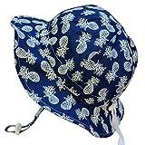 Chapeau contre le soleil pour bébé avec mentonnière, cordon d'ajustement de la taille de la tête, respirant , FPS de 50+(S: 0-9mois, Ananas navy )