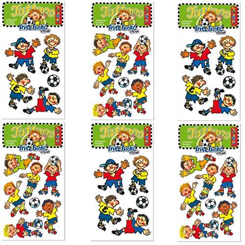 Neu: 6-teiliges Tattoo-Set * Fussball Jungs * vom Lutz Mauder-Verlag | Kinder Kindertattoo Kindergeburtstag Geburtstag Mitgebsel Fußball WM 2018