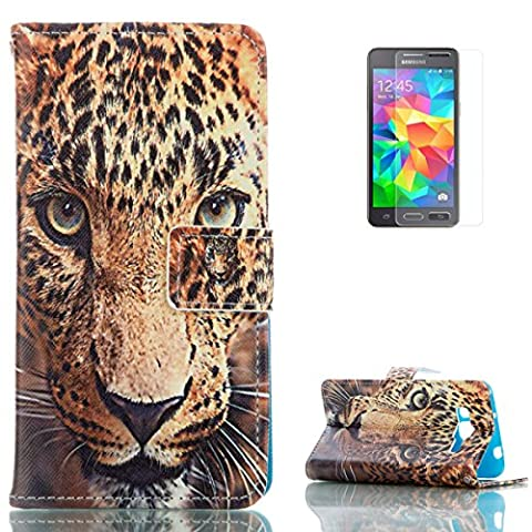 Samsung Galaxy Grand Prime SM-G530 PU Leather Wallet Case [with Free Screen Protector],KaseHom Cool Fashion Colourful Design Folio Book Style Magnetic Closure Stand Function with Card Slots and Cash Holder Shockproof Synthetic Faux Leather Full Body Protective Flip Case Cover Skin Shell for Samsung Galaxy Grand Prime SM-G530 - Tiger