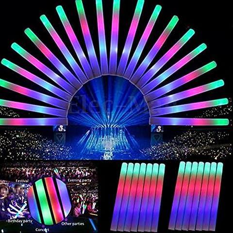 30PCS 19LED luminoso Schiuma Sticks Multicolor Soft Tube Glow Baton bacchette per rally Rave Cheer festa Festival Feste Rave compleanni bambini giocattolo