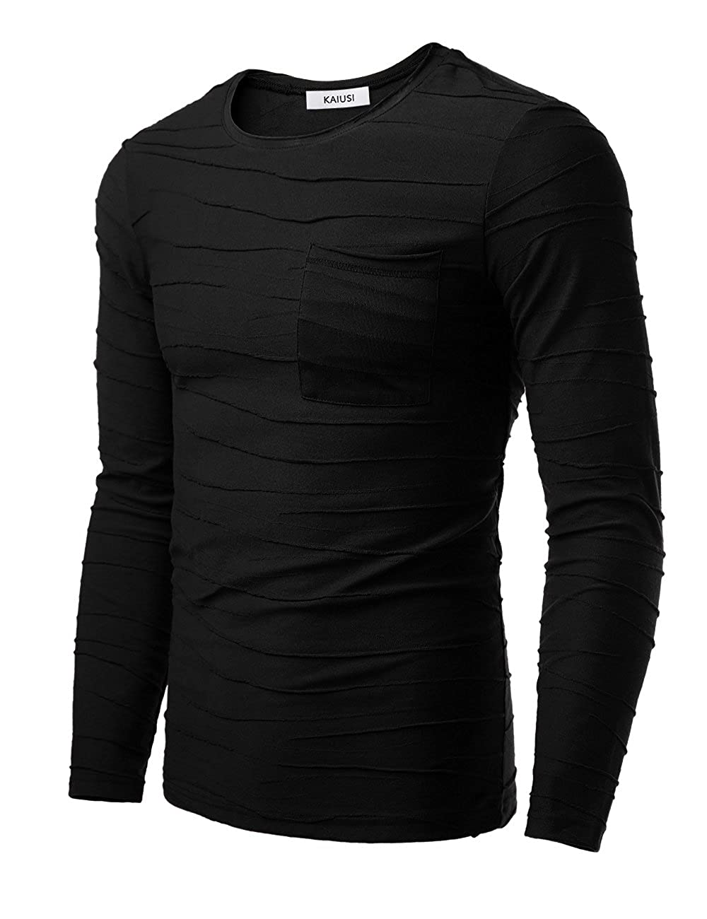 KAIUSI Men's Pleated Ruched Pocket Long Sleeve T-Shirt Tops: Amazon.co.uk:  Clothing