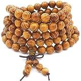 ChicJ&Y Pulsera Mala de los 8MM 108 Rezo, Collar de Meditación de Buda Budista Tibetano Budista Tibetano de Madera de Oro Nat