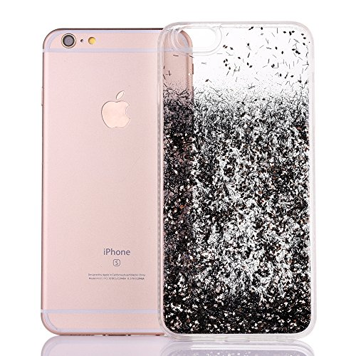 iPhone 8Plus Hülle, CLTPY iPhone 8Plus Handytasche Hybrid Silikon Strass Bumper + Hart Back Case Transparent Fließen Flüssig Schale mit Sparkle Glitzer Treibsand für Apple iPhone 7Plus/8Plus + 1 x Sti Schwarz