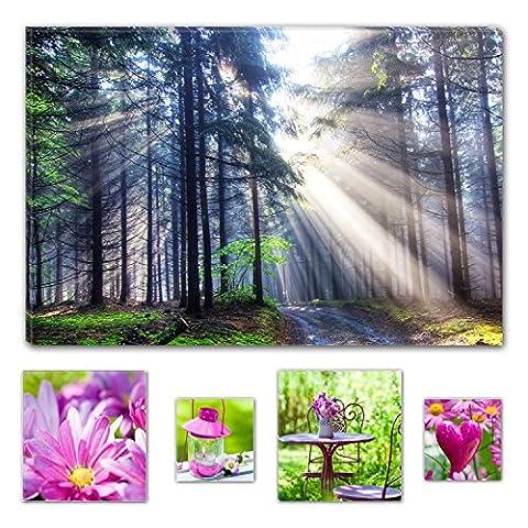 Lumière Eco Art mural sur toile Bundle lumière dans la forêt Nature, Toile, multicolore, Taille M