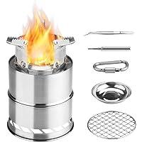 Awroutdoor Holzofen Tragbar,Campingkocher Outdoor Holzvergaser Klapp und Winddicht aus Edelstahl für Camping, BBQ…