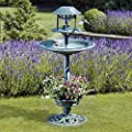 Happy Beaks Bird Bath Feeding Station Hotel Planter & Solar Light by Clifford James