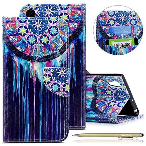 Kompatibel mit Handytasche Sony Xperia XA1 Ultra Lederhülle Flip Case Hülle Schön Retro Bookstyle Leder Klapphülle Ledertasche Brieftasche Schutzhülle Wallet Handyhülle Leder Tasche,Bunt Traumfänger