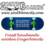 Mini Skateboard/Fingerboard Wood Original of the southboards Hand Made (Blue/Green/Blue)