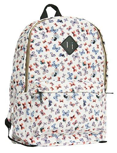 Big Handbag Shop, zaino da viaggio grande, con zip e Tasche, unisex, leggero, fantasie varie Butterfly - White