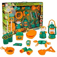 F.D.E Pretend Play Camp Set Survival Kit with Large Box Camping Toy Tools Outdoor Toy for Children Ages 3+ To Explore The Wilderness