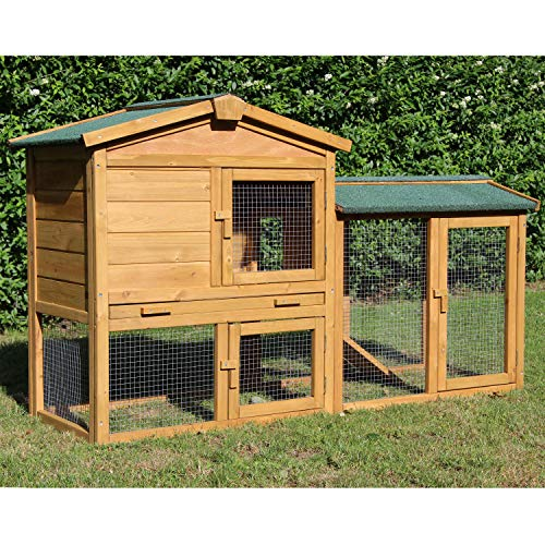 zoo-xxl Kaninchenstall Klopfer - mit Ruheraum - Hasenstall Hasenhaus Kleintierstall ca.147x52x85 cm für draußen 2-stöckig mit Freilauf