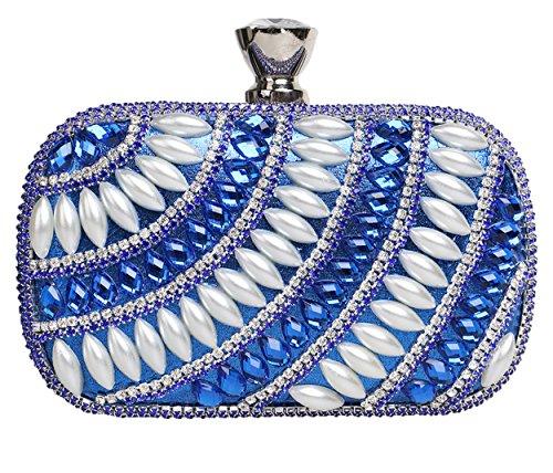 Santimon Clutches Für Damen Glitter Strass Perlen Handtaschen Partei Metallkasten Beutel Mit Kettenriemen Blau