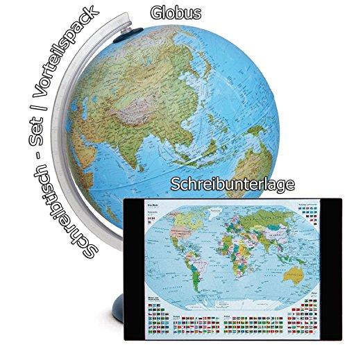 Idena Leuchtglobus 30 cm mit Halogen Energiesparlampe | Auch im Set mit Schreibunterlage (Weltkarte) (Set mit Schreibunterlage)