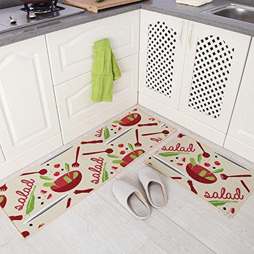 Treppe Läufer-gummi (indeedshare Küche Teppiche Gummirückseite Dekorative rutschfeste Fußmatte Läufer Bereich Schmutzfangmatten Sets 2Stück Vegetable)