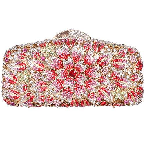 Damen Clutch Abendtasche Handtasche Geldbörse Glitzertasche Strass Kristall Blühen Kuss Schloss Tasche mit wechselbare Trageketten von Santimon(8 Kolorit) Pink