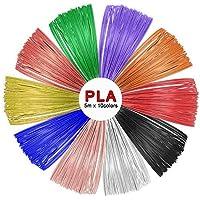 SUNLU PLA 3D Pen Filament Refills(10 Colors, 16.5 Feet Each),1.75mm PLA 3D Printing Pen Filament, Free Stencils Ebook / 5Meters Each Color, Total 50 Meters
