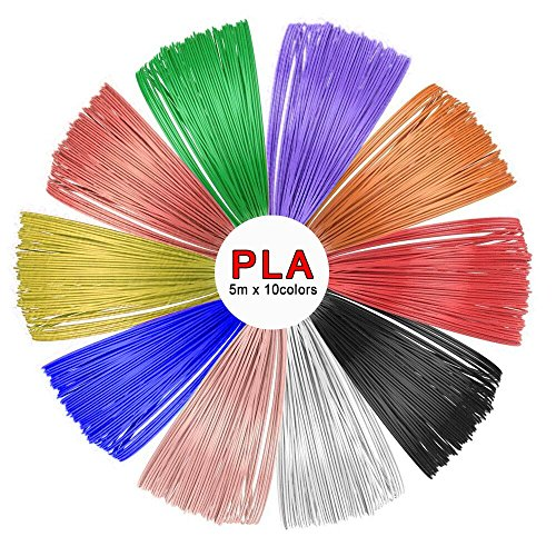 SUNLU PLA 3D Pen Filament Refills(10 Colors, 16.5 Feet Each),SUNLU 1.75mm PLA 3D Printing Pen Filament, Free Stencils Ebook / 5Meters Each Color, Total 50 Meters