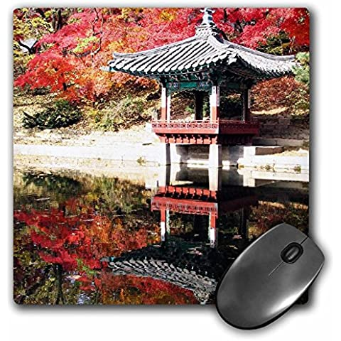 InspirationzStore Photography - Japanese Garden in Autumn - Red Fall colors photography in Seoul Korea (Pagoda Japan)