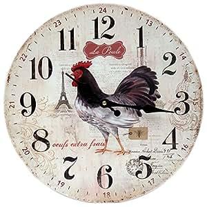Pendule Horloge Murale POULE AUX OEUFS EXTRA FRAIS Coq En Bois - Clémentine Créations