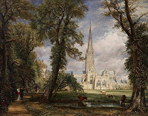 Berkin Arts John Constable Giclee Papel de Arte impresión Obras de Arte Pinturas Reproducción de Carteles(Catedral de Salisbury Desde el jardín del Obispo)