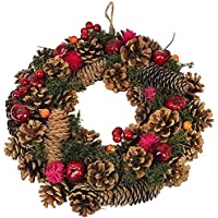Clare Florist 30cm Very Berry Christmas Wreath Festive Display with Pine Cones