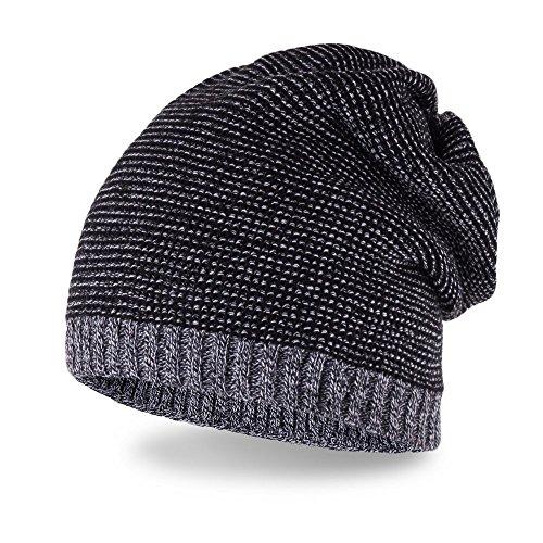 Neverless coole Strickmütze für Herren, Strick-Beanie, lange Winter-Mütze aus...