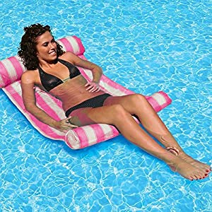 AILUOR Letto Galleggiante, Nuoto Piscina Galleggiante Acqua Amaca, galleggia sulle acque, Estate di Nuoto Galleggiante Acqua Amaca Letto Piscina Gonfiabile Galleggiante Sedia a Sdraio (Rosa)