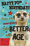Funny 70. Geburtstag Karte mit einem Erdmännchen Design ~ Alles Besser mit Alter