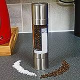 Top Home Solutions® Tritatutto Combo 2in 1Dual sale e pepe shaker set spezie in acciaio inox, tutto in uno, adatto per erbe e spezie, JJE uso manuale non elettrico