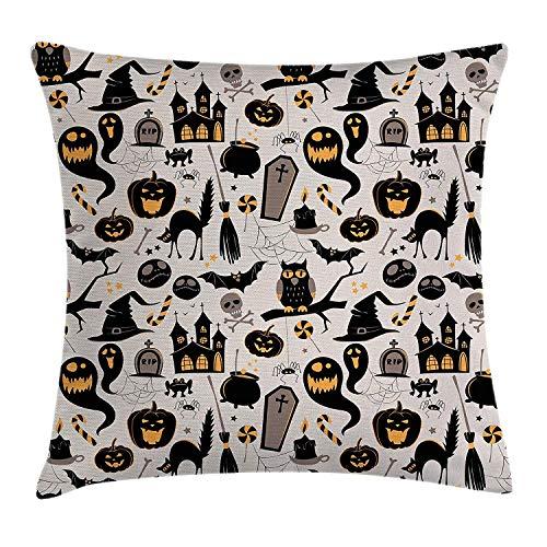 Kissenbezüge Vintage Halloween Throw Pillow Cushion Cover, Halloween Cartoon Jack o Lantern Tombstone Skulls and Bones, Decorative Square Accent Pillow Case, 18 X 18 inches, Light Grey ()