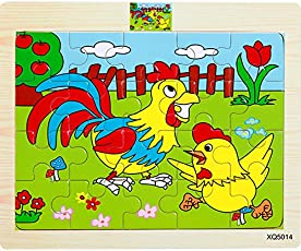 Vibgyor Vibes Wood Jigsaw Puzzles for Small Children Kids (20 Pieces, 18x15cm, Pack of 6)
