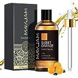 MAYJAM Aceites Esenciales de Naranja Dulce 100 ml, 100% Aceites Esenciales Naturales Puros, Aceite Esencial de Aromaterapia d