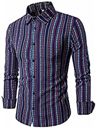 BUSIM Men's Long Sleeve Shirt Autumn Ethnic Stripe Print Casual Button Lapel Official T-Shirt Top Clearance Hot...