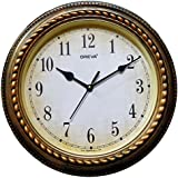 Ajanta (Oreva) Quartz Wooden Finished Plastic Antique And Vintage Look Round Shape Wall Clock (32 Cm X 4 Cm X 32 Cm,Gold )