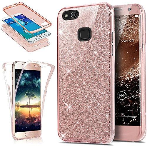 Kompatibel mit Huawei P10 Lite Hülle Schutzhülle Case,Full-Body 360 Grad Bling Glänzend Glitzer Durchsichtige TPU Silikon Hülle Handyhülle Tasche Front Cover Schutzhülle für Huawei P10 Lite,Rose Gold