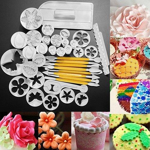 CFPACR 37Pcs Fondant Cake Sugarcraft Plunger Cutter Xmas Cookie dekorative SchimmelPilz-Set