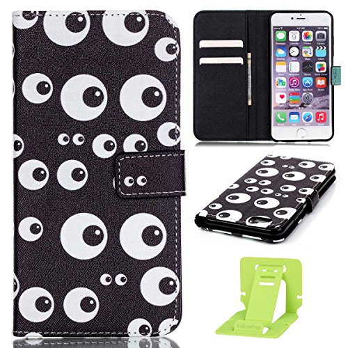 Apple iPhone 6S plus LederHülle, Ekakashop Kreative Design Bookstyle Schmetterling Löwenzahn Muster PU Leder Magnative Handyhüllen Handytasche Étui Back Wallet Case Cover Bumper Brieftasche mit Standf Schwarze Auge Butter