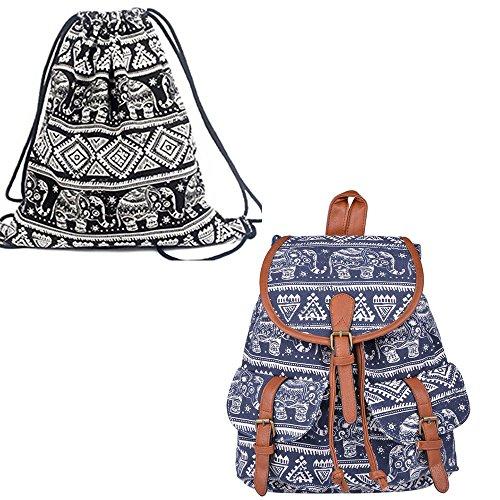 Leefrei casual Canvas Damen Herren Rucksack Daypack Backpacks Freizeitrucksack Schulrucksack Schultasche (Elefant Blau+Beutel) Elefant Blau+Beutel