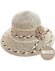Fan Dear Mujer Sombrero Verano koreanischen Flores Gráficos Thin paja Sombreros Sunscreen playa Cap grandes entlang Sun Sombreros, Ein