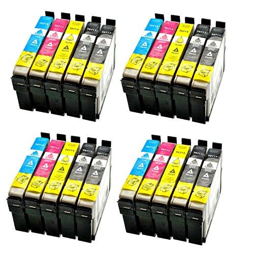 Azprint 20er Set Kompatibel Epson T0711 T0712 T0713 T0714 T0715 Druckerpatronen für Epson Stylus SX105 SX210 SX218 SX400 DX4000 DX4400 DX6000 DX6050 DX8450 BX300FDrucker | 8 Schwarz, 4 Blau, 4 Rot, 4 Gelb
