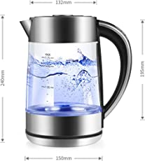 Wasserkocher morpilot 2200 Watt Wasserkocher mit Temperatureinstellung,1,7 Liter Blaue LED Beleuchtung,aus Edelstahl und Glas BPA Frei 360 Grad Kabellos Station