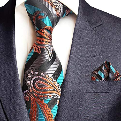 LUHELDM Jacquard Woven Silk Herren Krawatte Taschentuch Set Krawatte 8cm Gestreifte Krawatten Für Herren Anzug Business Hochzeit Krawatte03 Woven 3 Mens Tie