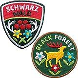 2er-Set Schwarzwald Abzeichen 60 mm gestickt / Black Forest Aufnäher Aufbügler Sticker Wappen Patches für Kleidung Mode Tracht Taschen Rucksack / Hirsch Geweih Hirschgeweih Bollen...