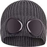 Mens Designer Goggle Beanie Knitted Woolly Winter Chunky Beany Hat Grey